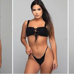 Black lace up thong bikini size small
